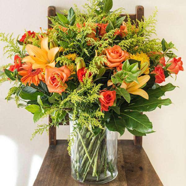 Flower Arrangements - Bright Orange Glass Vase