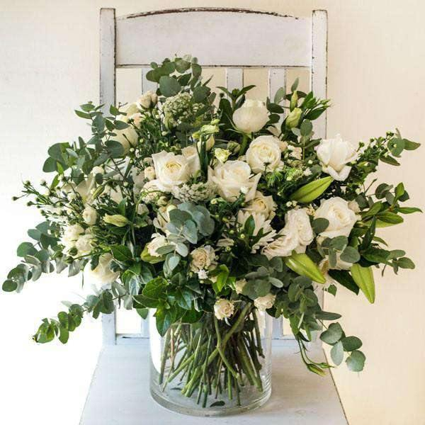 White Purity Vase Arrangement - Fabulous Flowers Cape Town Flower Delivery