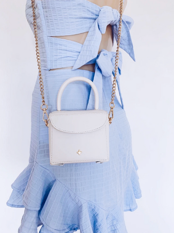mini white and gold bag