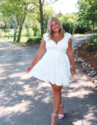 jadedelaronde annabelle dress in white grad day outfit inspo her empire boutique
