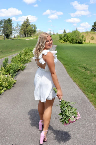 jadedelaronde annabelle dress in white grad day outfit inspo her empire boutique pink flowrs