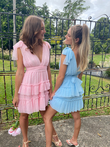 Destined For You Dress in Pink & Blue