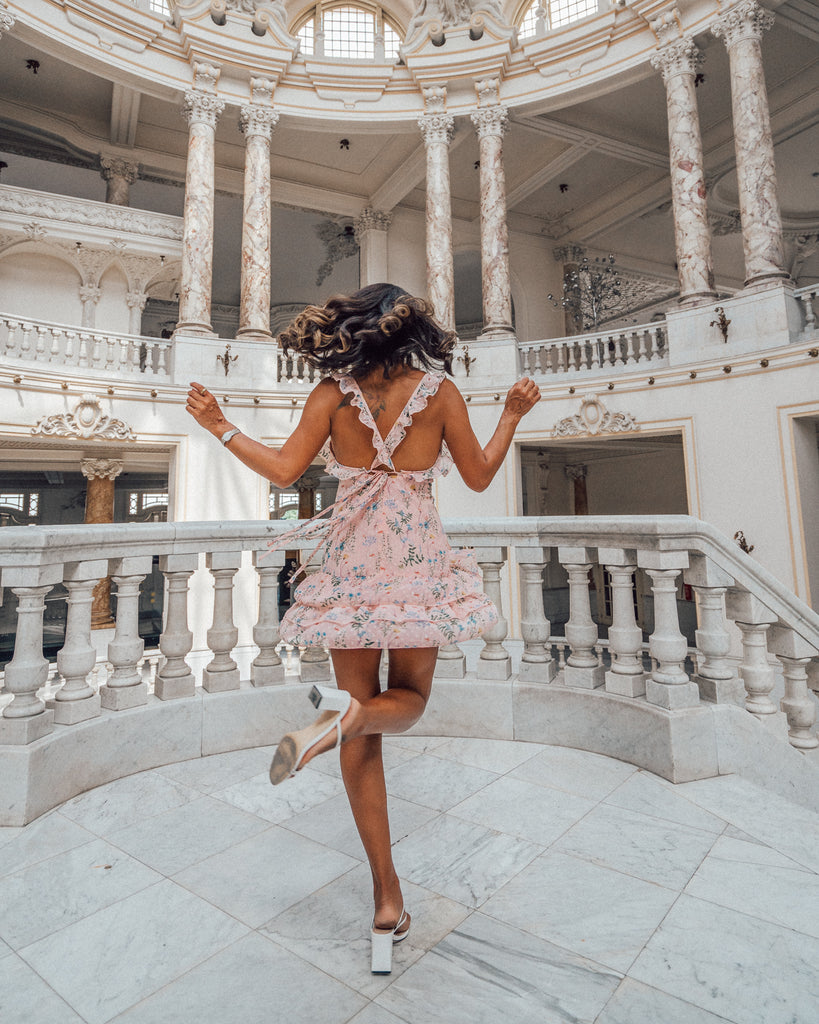 @maya_gypsy spinning in Cuba in our pink cross back dress.