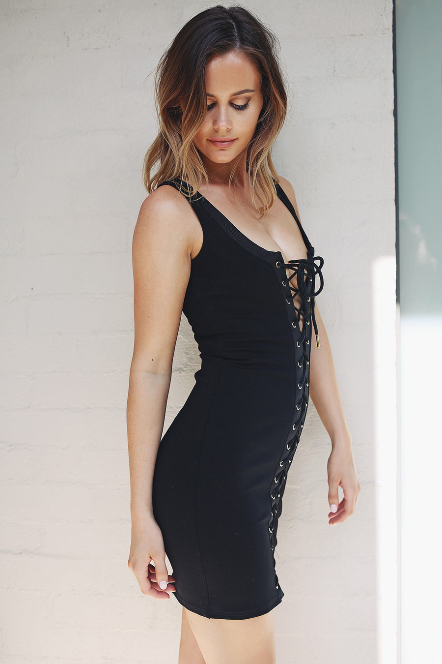 Laced Up La Renta Dress - HER Empire Fashion Boutique Terrigal & Online