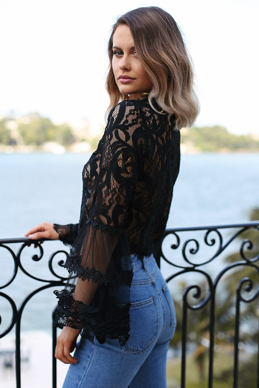 Chancellor Lace Top in Black