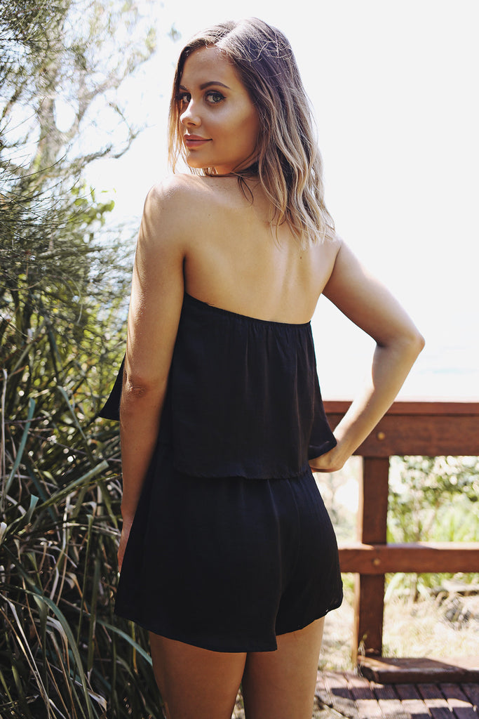 Flirt With Fire Playsuit in Black - HER Empire Fashion Boutique Terrigal & Online