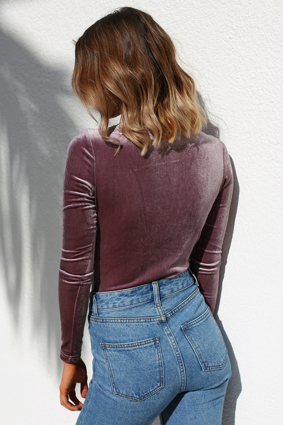 Shameless Velvet Bodysuit in Dusty Cedar