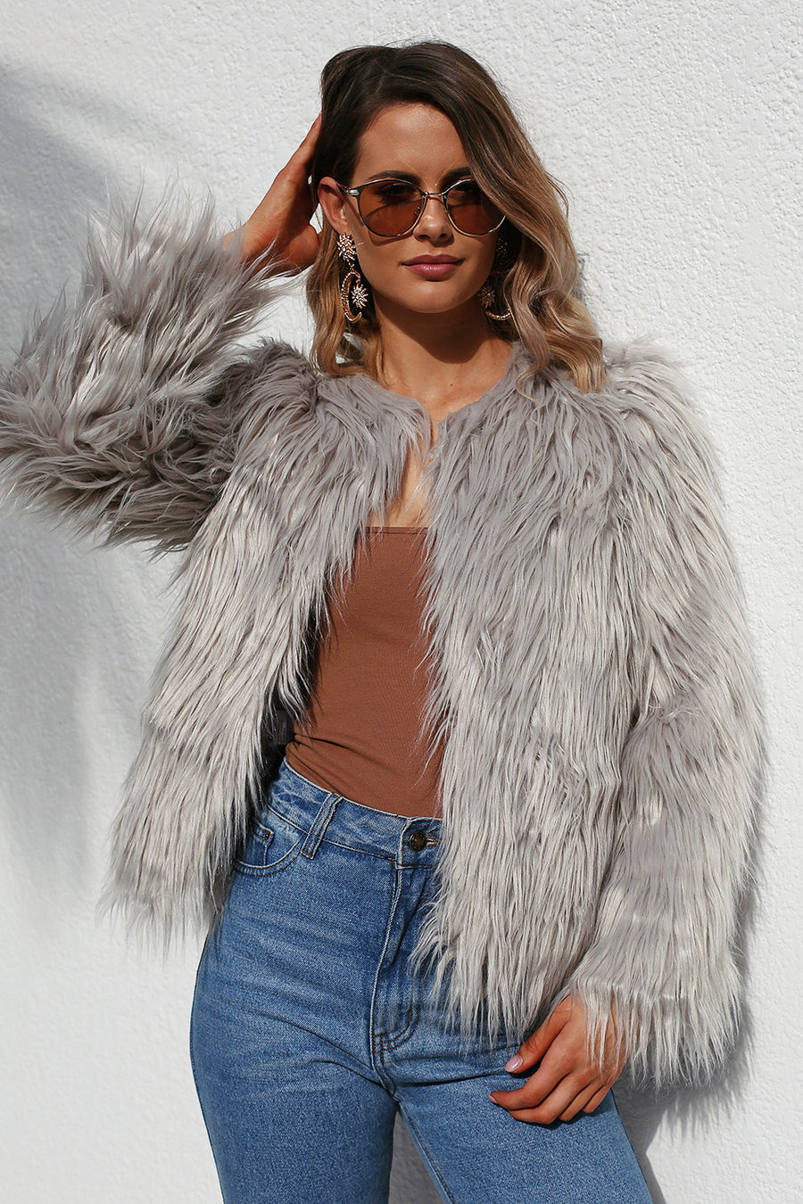 QUEENS FAUX FUR in Grey - HER Empire Fashion Boutique Terrigal & Online