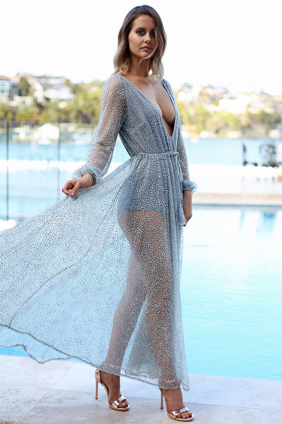 Nala Glitter Gown in Silver for $149.00