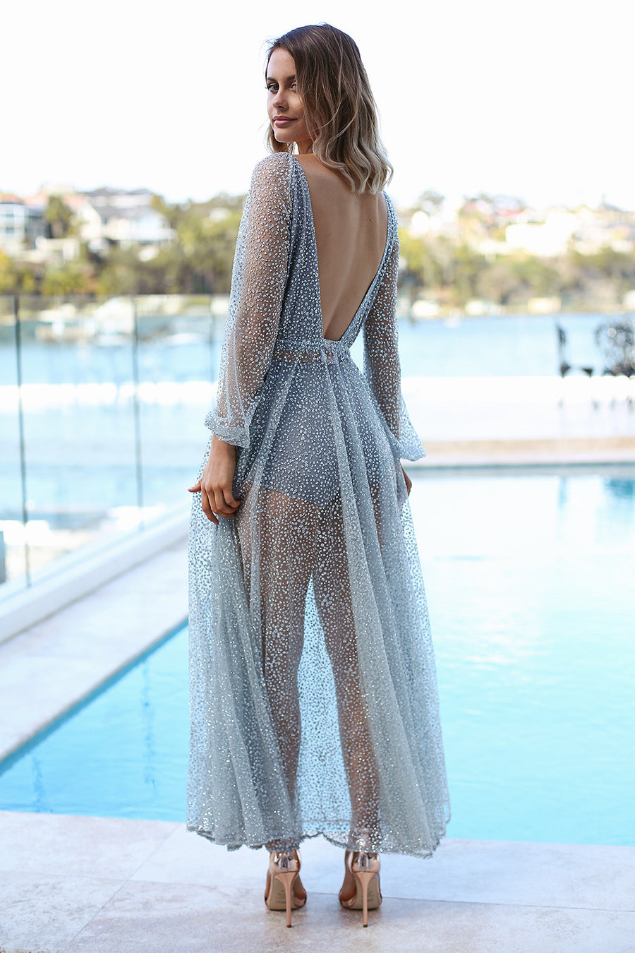 Nala Glitter Gown in Silver - HER Empire Fashion Boutique Terrigal & Online