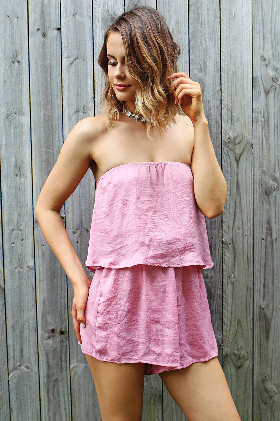 Flirt With Fire Playsuit in Pink