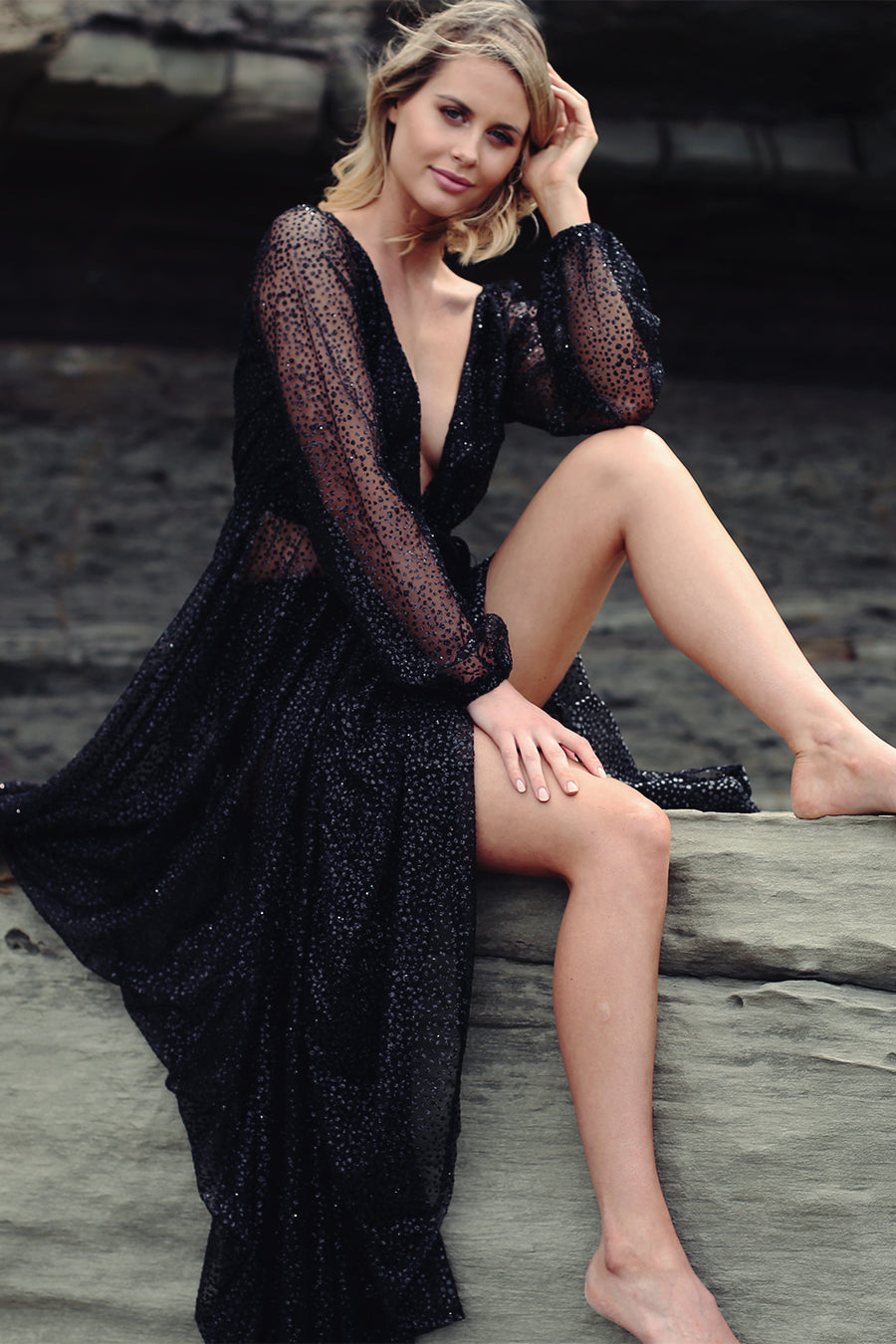 Nala Glitter Gown in Black