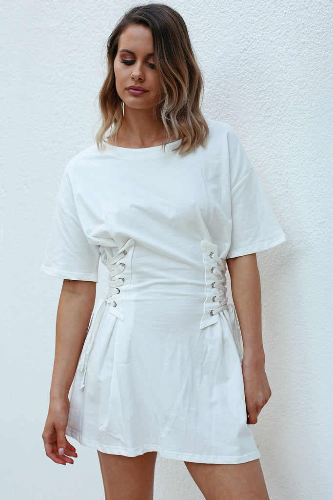 Ariana Corset Tee Dress White - HER Empire Fashion Boutique Terrigal & Online