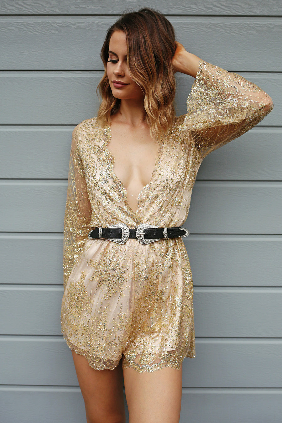 Gold Rush Playsuit - HER Empire Fashion Boutique Terrigal & Online
