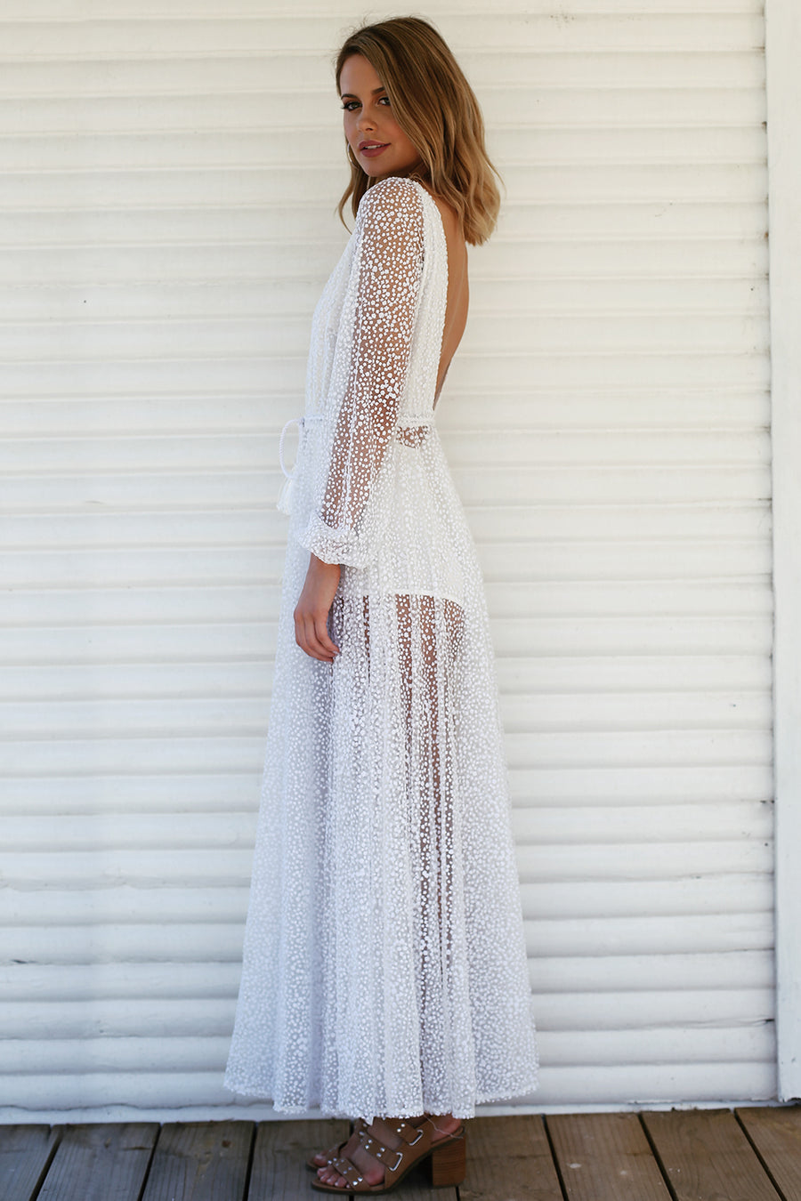 Nala Glitter Gown in White for $149.00