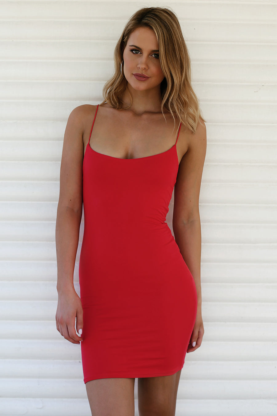 Hold Me Tight Slip Dress in Red