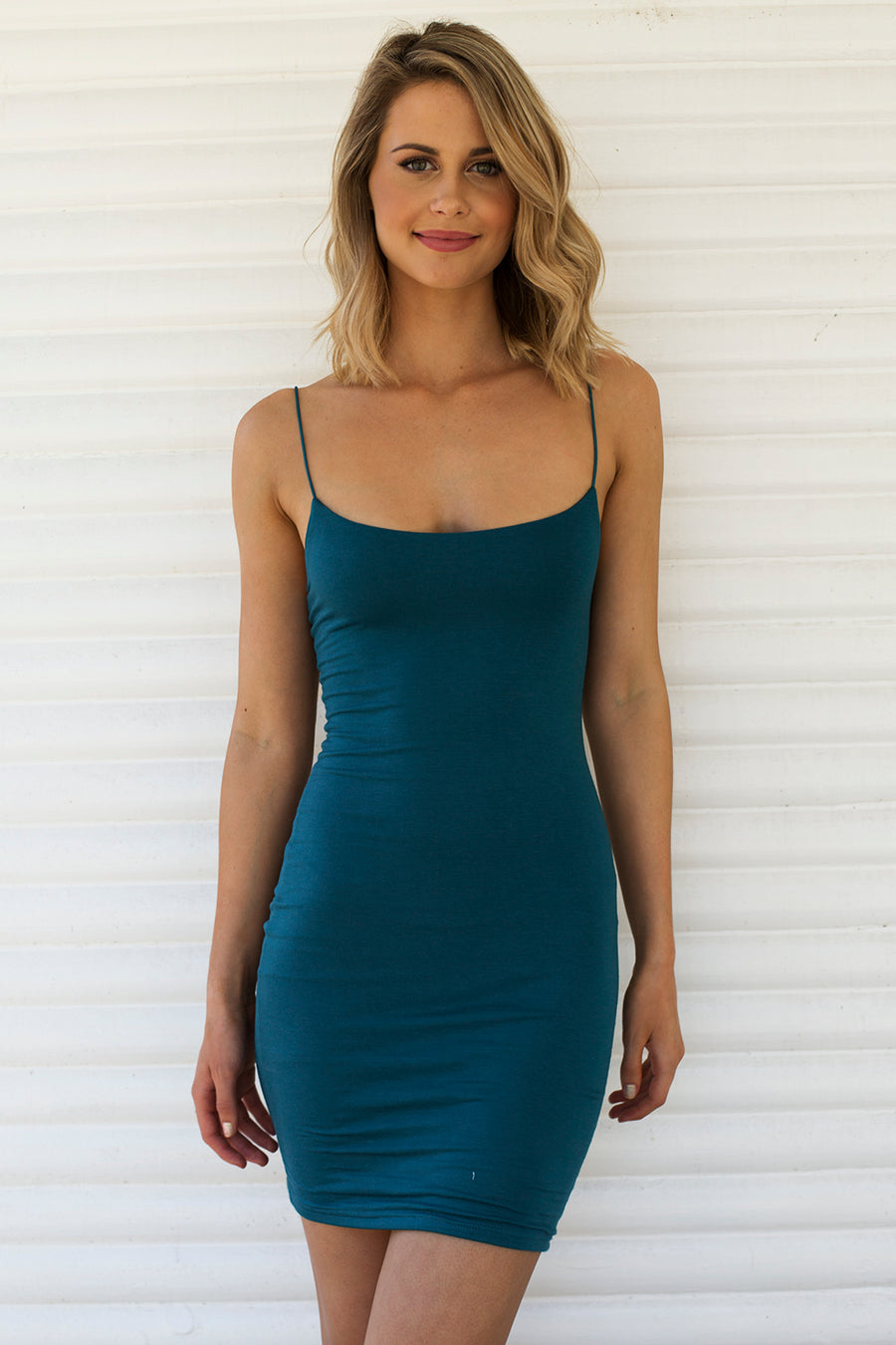Hold Me Tight Slip Dress in Teal