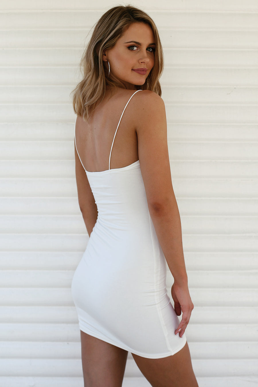Hold Me Tight Slip Dress in White