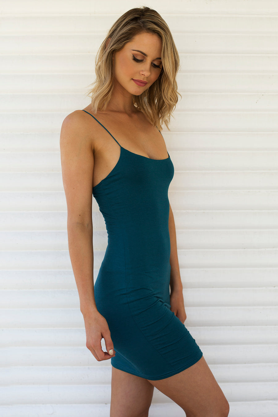 Hold Me Tight Slip Dress in Teal for $25.00