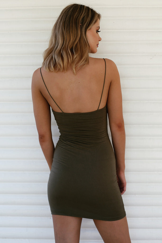 Hold Me Tight Slip Dress in Khaki - HER Empire Fashion Boutique Terrigal & Online