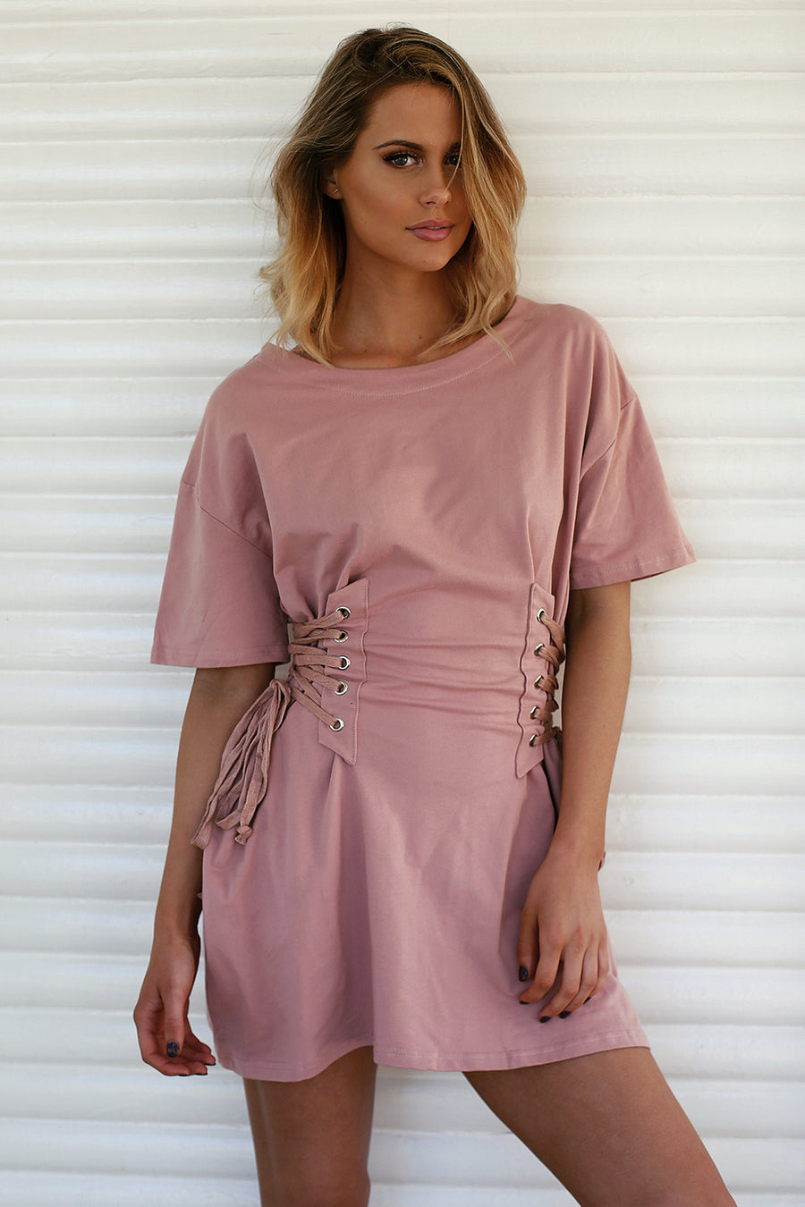 Ariana Corset Tee Dress Pink - HER Empire Fashion Boutique Terrigal & Online