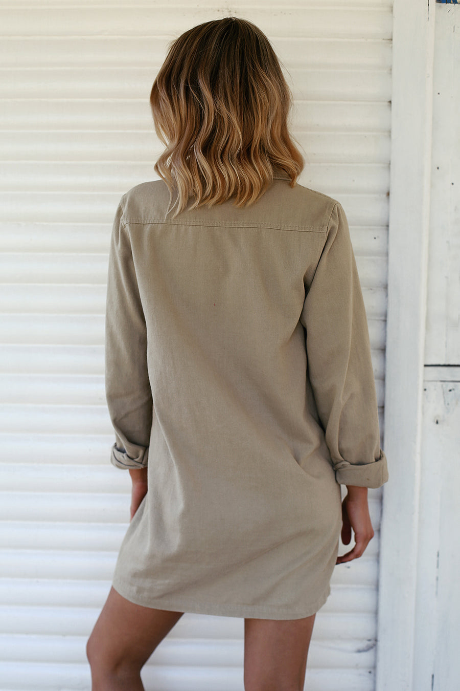 Soldier Shirt Dress in Beige