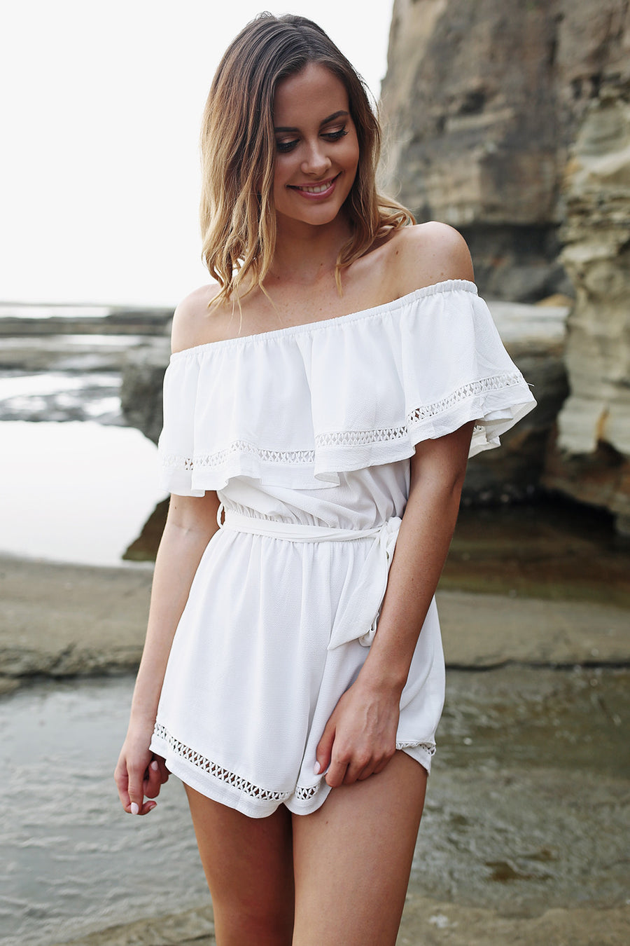 No Love Lost Playsuit in White