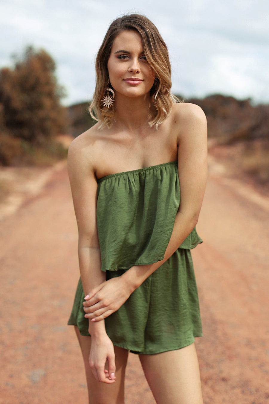 Flirt With Fire Playsuit in Khaki