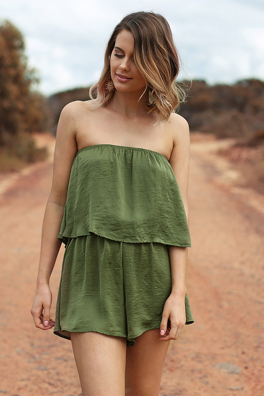 Flirt With Fire Playsuit in Khaki - HER Empire Fashion Boutique Terrigal & Online