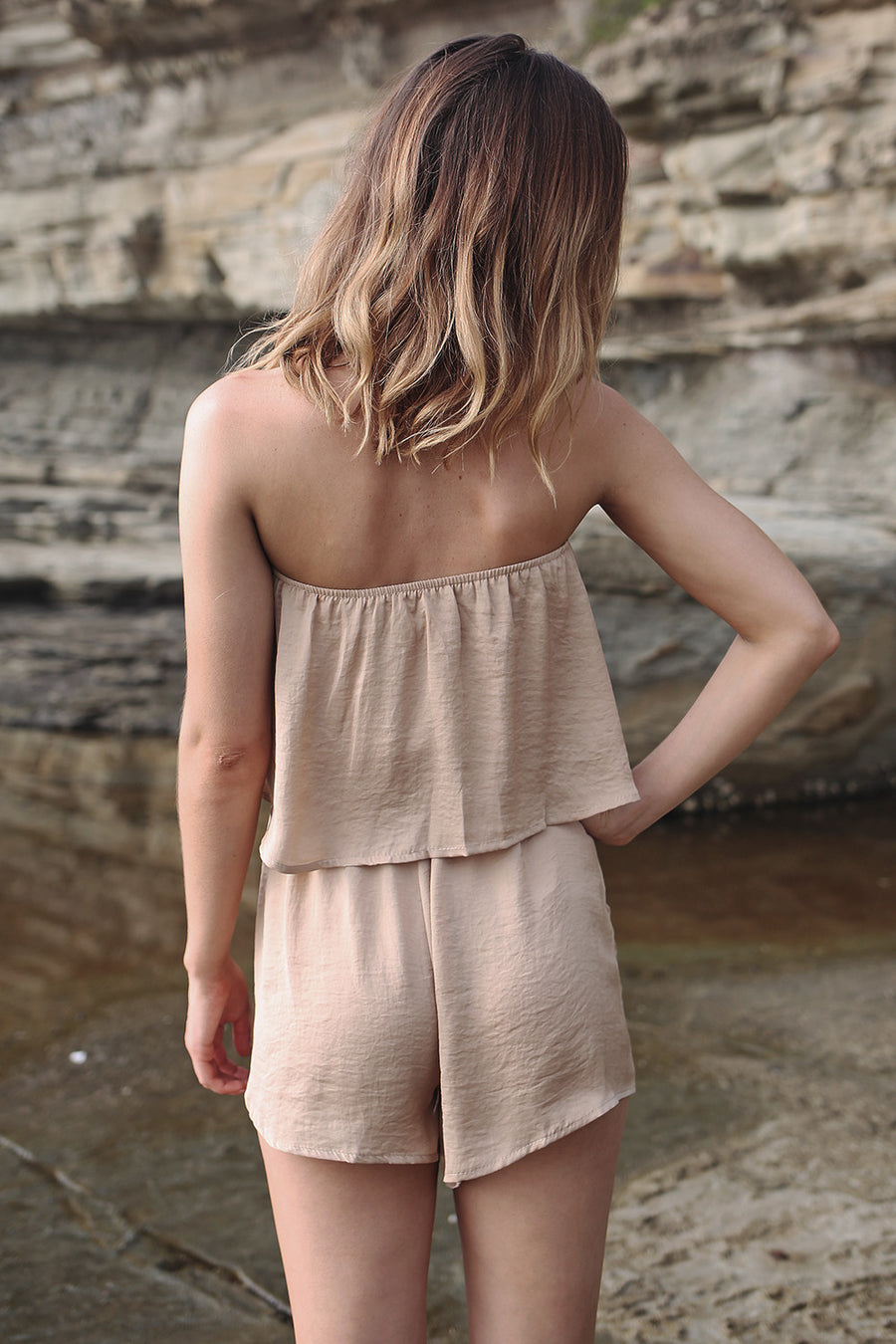 Flirt With Fire Playsuit in Gold - HER Empire Fashion Boutique Terrigal & Online