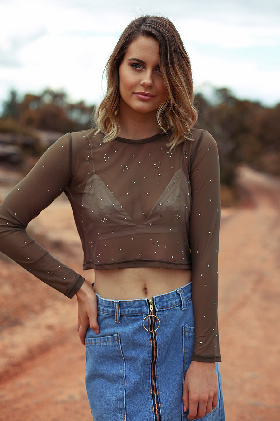 Bedazzled Crop in Khaki - HER Empire Fashion Boutique Terrigal & Online