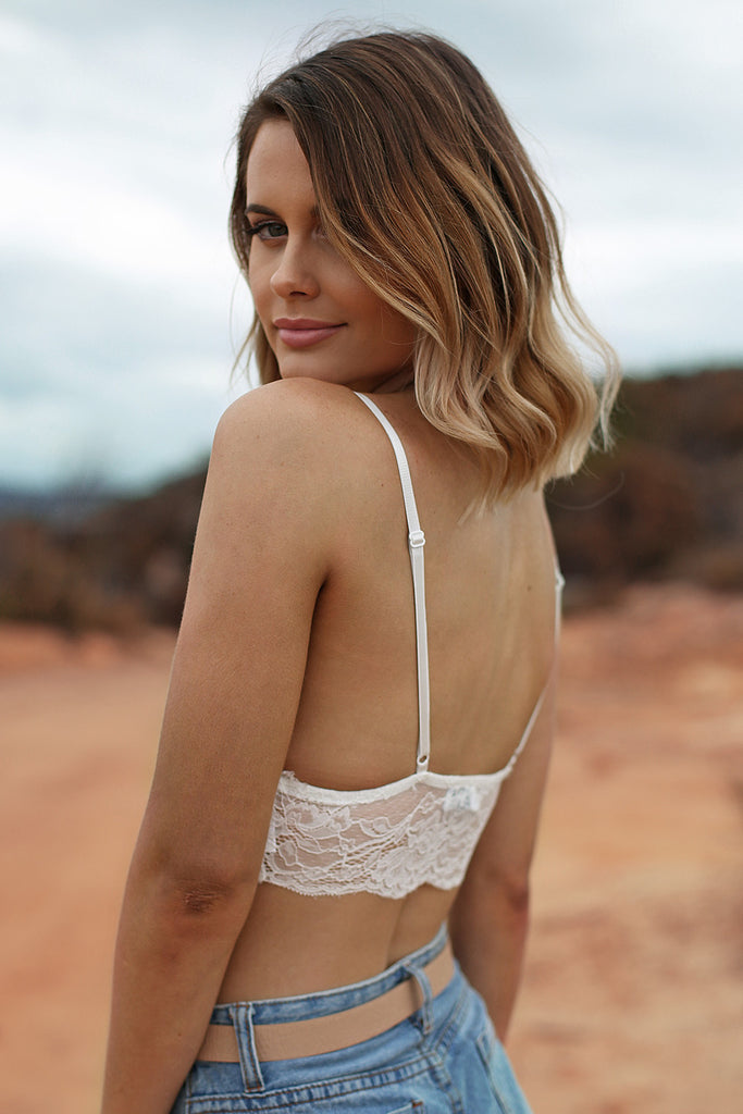 21 Lies Lace Bralette in White