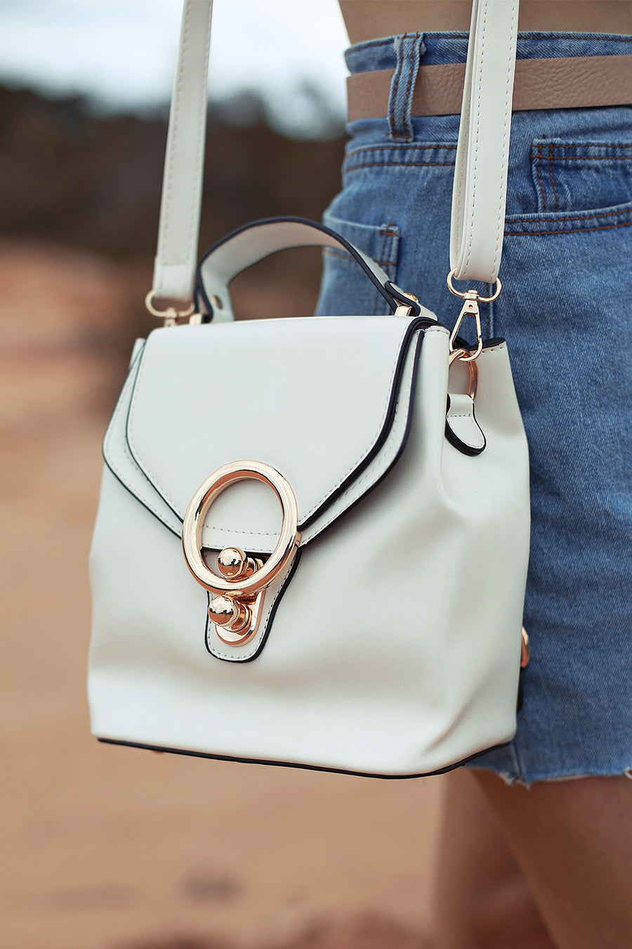 Khlo Patent Bucket Bag in Pearl - HER Empire Fashion Boutique Terrigal & Online