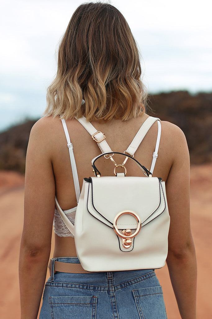 Khlo Patent Bucket Bag in Pearl