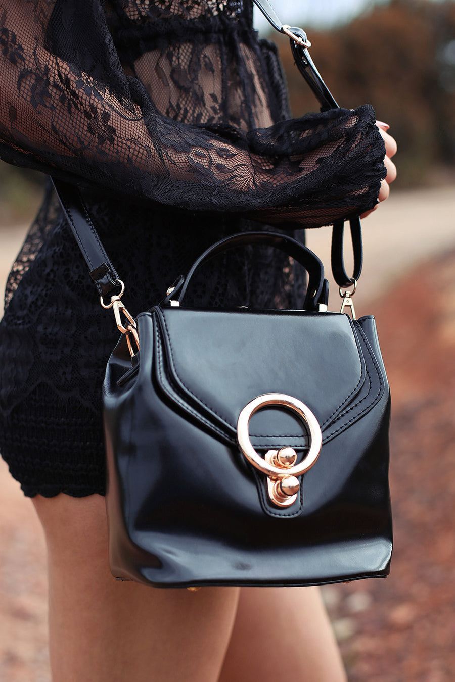 Khlo Patent Bucket Bag in Black - HER Empire Fashion Boutique Terrigal & Online