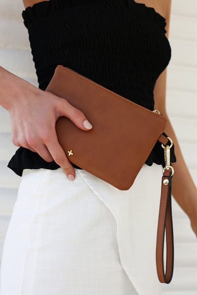 Bella Clutch in Tan - HER Empire Fashion Boutique Terrigal & Online
