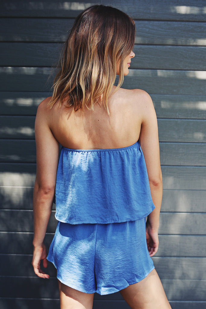 Flirt With Fire Playsuit in Electric Blue