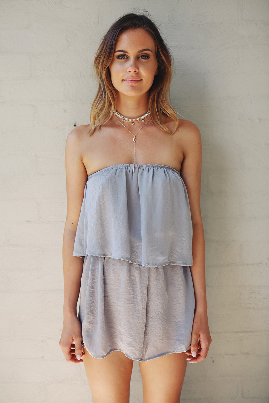 Flirt With Fire Playsuit in Silver - HER Empire Fashion Boutique Terrigal & Online