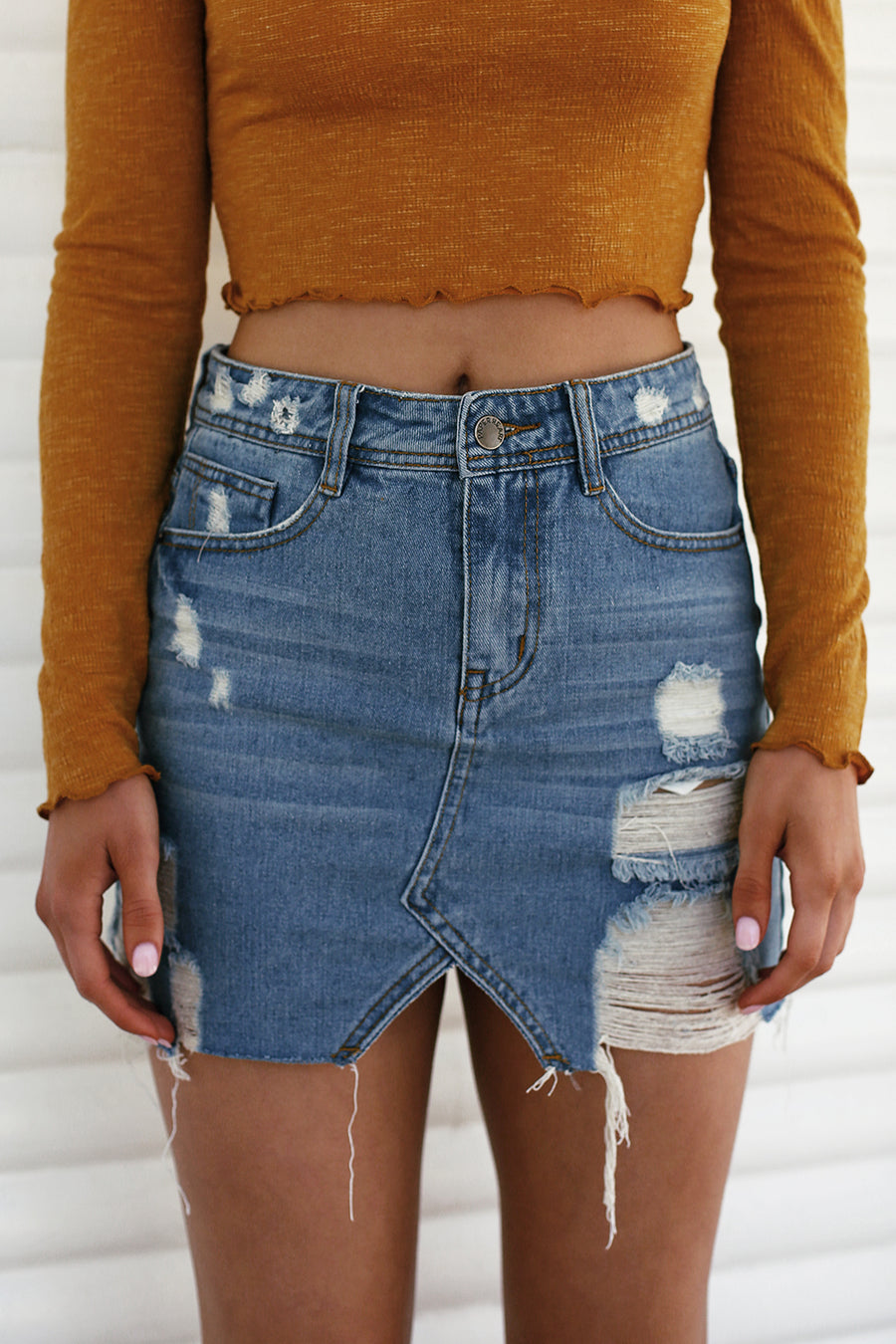 No Rules Distressed Denim Skirt