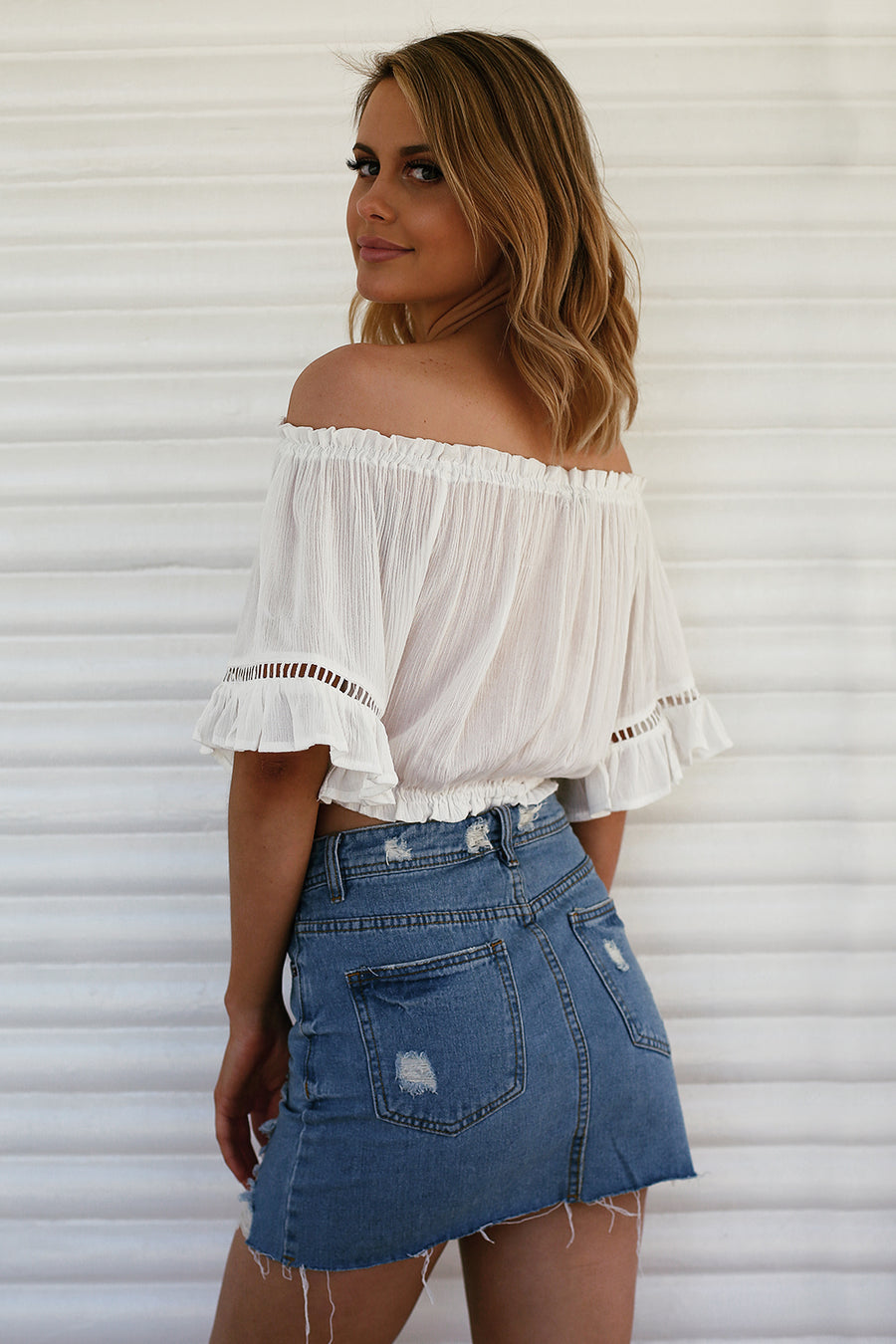 Holiday Ruffle Crop
