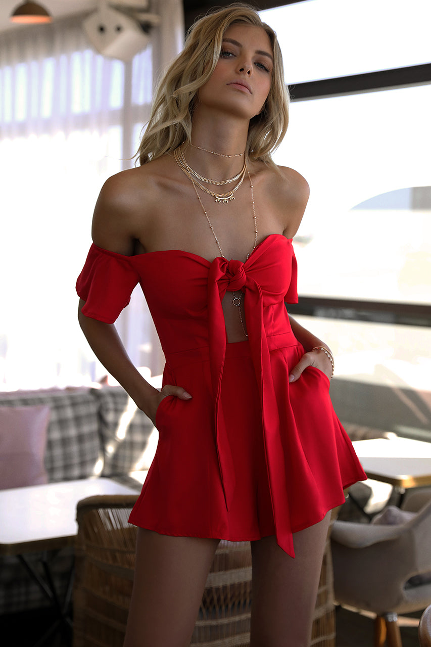 Another Day Playsuit - Fiesta Red