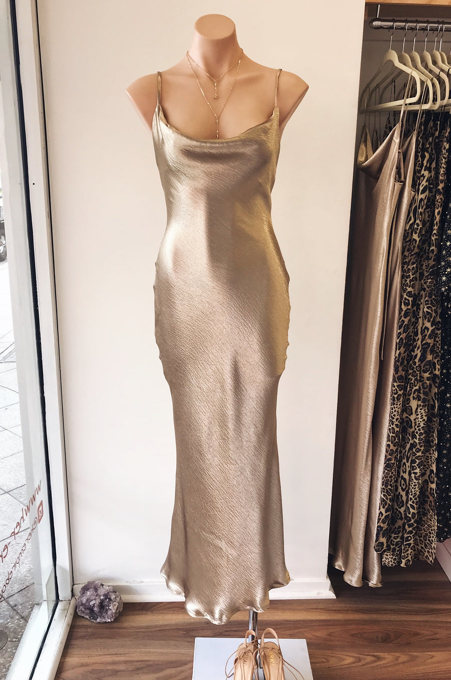 Liquid Gold Slip Dress