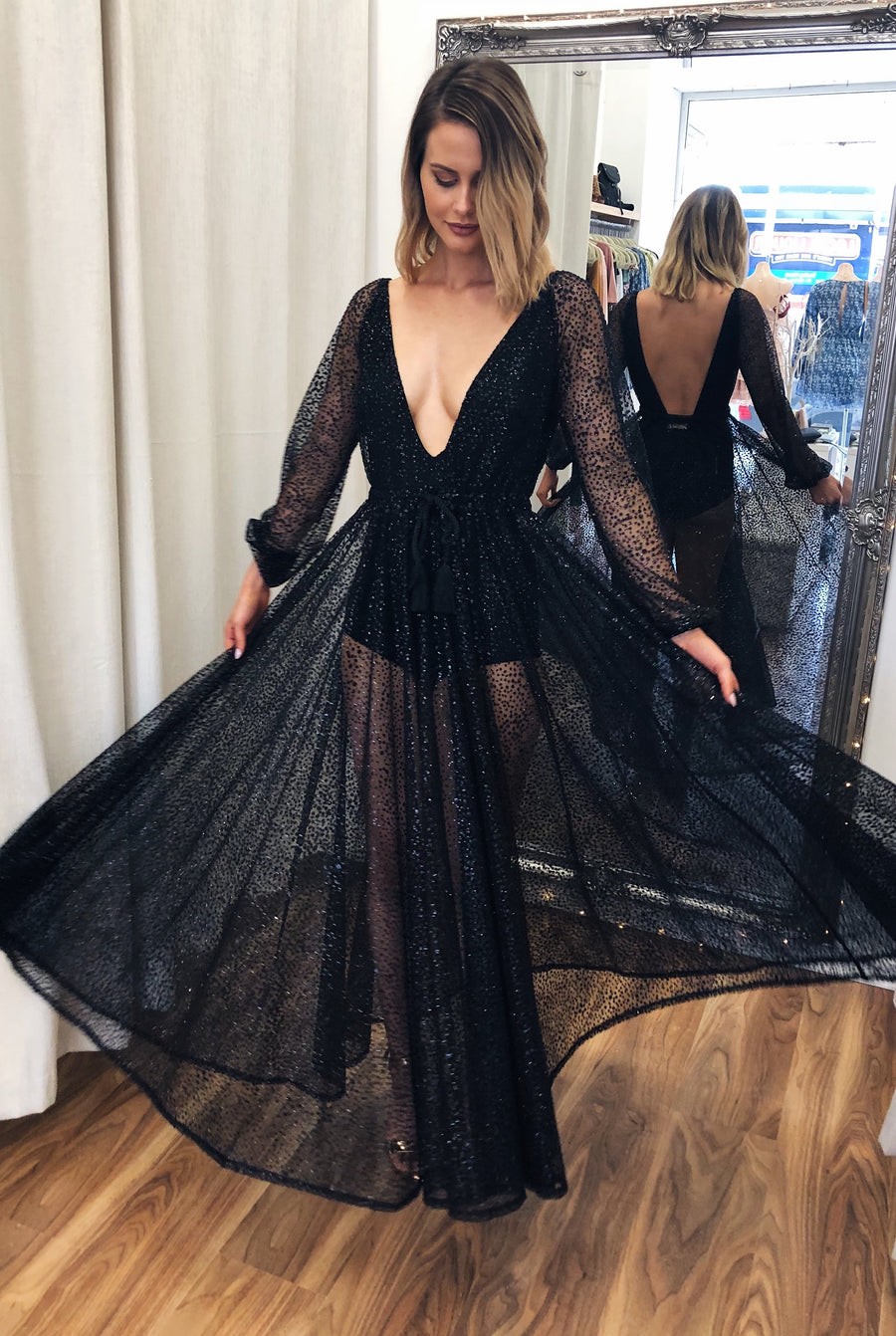 Nala Glitter Gown in Black for $149.00