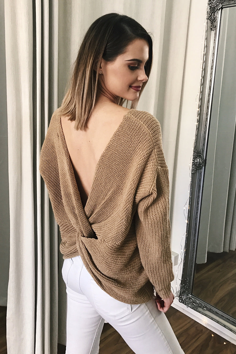 Karma Twist Knit in Camel