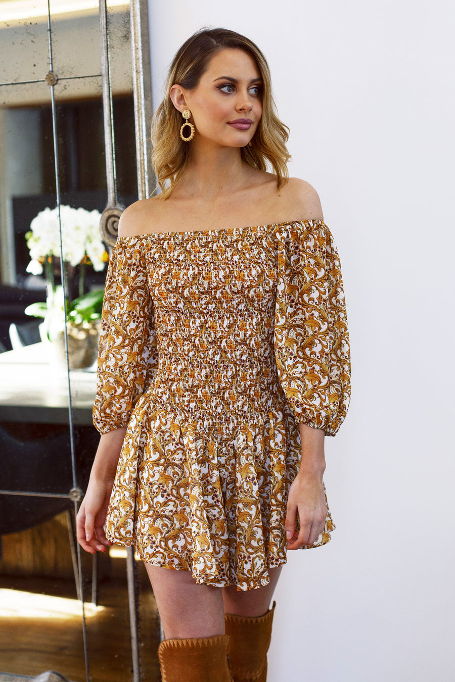 gold ornate print playsuit