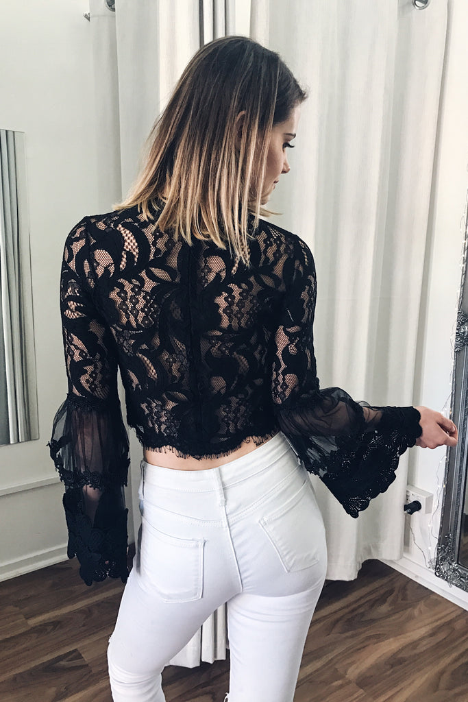 Chancellor Lace Top in Black - HER Empire Fashion Boutique Terrigal & Online