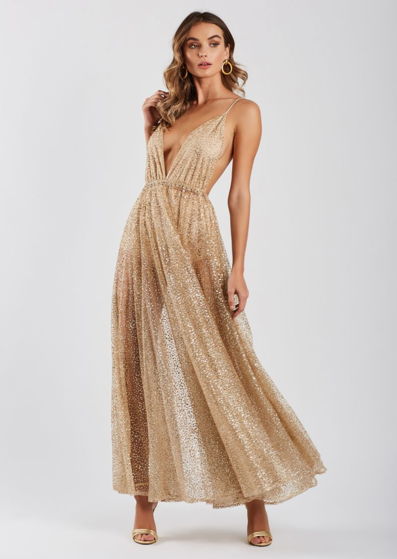 Zinna Glitter Gown in Gold for $159.00