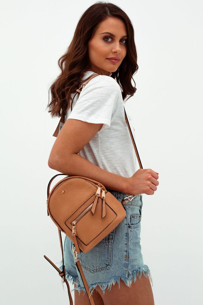 Zoe Mini Backpack in Caramel