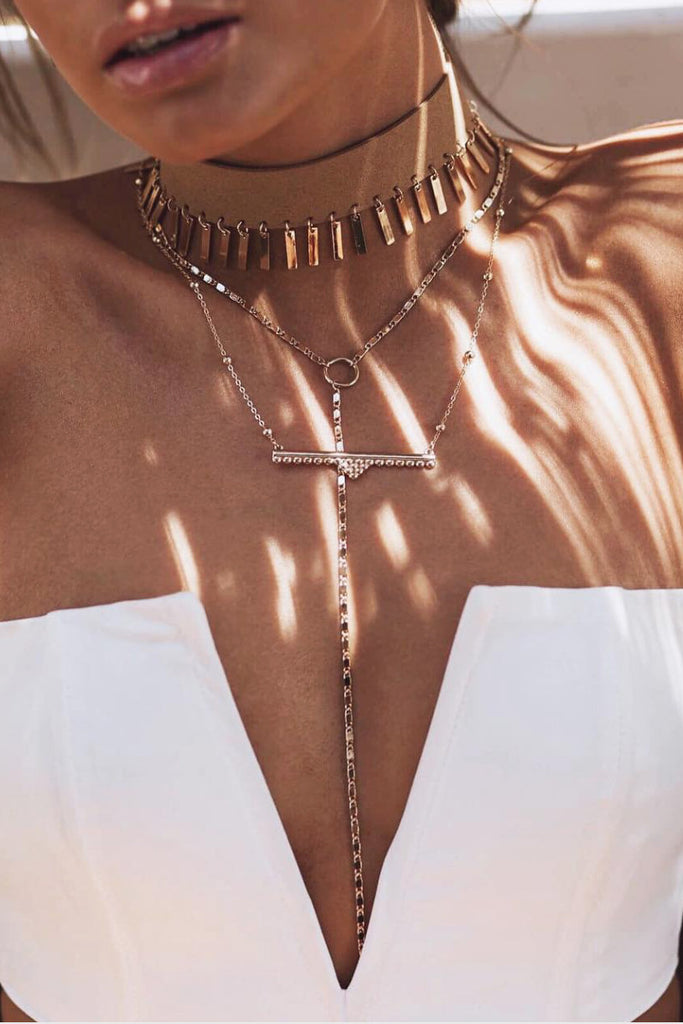 Wanderer Bar Necklace - Rose Gold