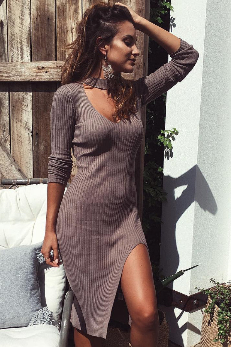 Becky Knit Dress in Mocha